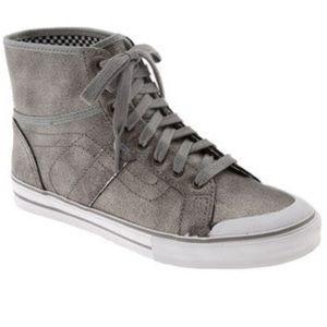 f18ab82b4a Vans Shoes - Vans Wellesley Silver Metallic Leather High Tops